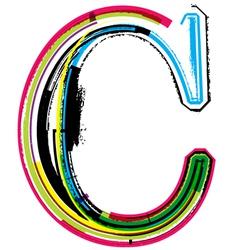 Grunge colorful font Letter C vector