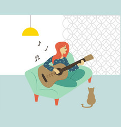 guitar player woman playing guitar at home hobby vector image