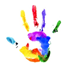 Handprint in vibrant colors of the rainbow vector image