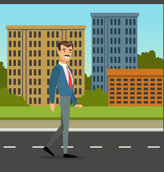 happy mustached man walking down the street city vector image