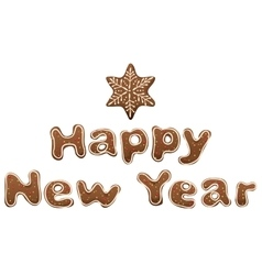Happy New Year Gingerbread lettering text for vector image