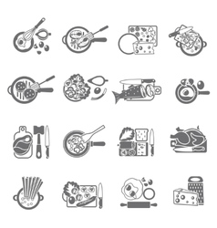 Home cooking black icons set vector