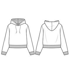 Hooded sweatshirt fashion flat sketch template vector