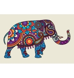 Indian ornate elephant colored illistration vector
