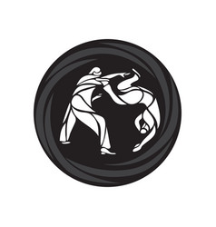 Judo fighters round pictograph or logo martial vector