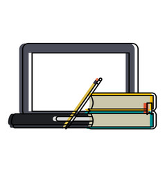 Laptop and books with blank screen icon imag vector