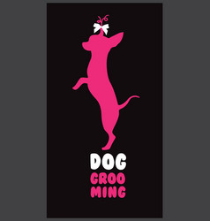 Logo for dog hair salon with pink dog silhouette vector
