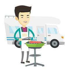 Man having barbecue in front of camper van vector