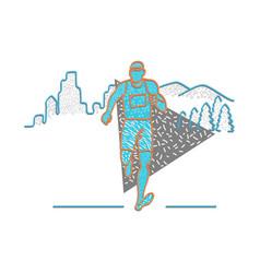 marathon runner memphis style vector image