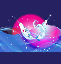 marine bright background with narwhal whales vector image