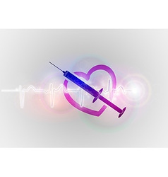 medical symbol injection with heart vector image
