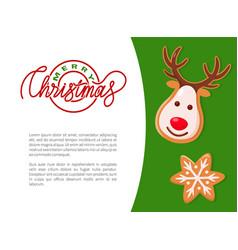merry christmas cookie deer and snowflake vector image
