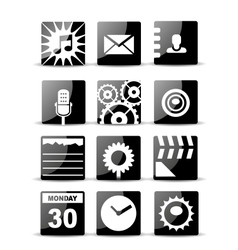 Modern black flat mobile app icon set vector image