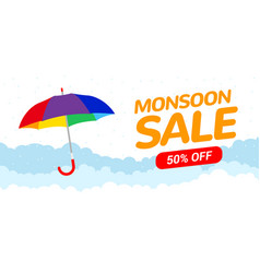 monsoon sale offer rain season background rainy vector image