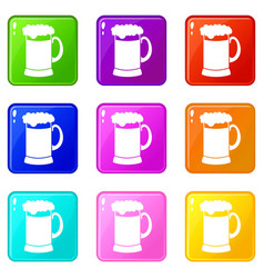Mug of dark beer icons 9 set vector
