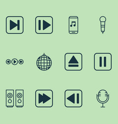 Music icons set collection of mike skip song vector