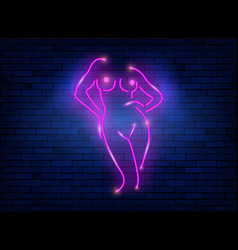 Neon sign striptease pink neon silhouette girl vector