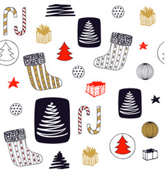 new year seamless pattern with christmas stocking vector image