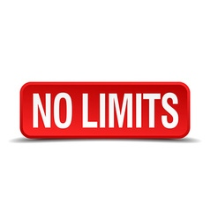 No limits red 3d square button isolated on white vector