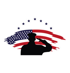 Officer military silhouette usa flag painted vector