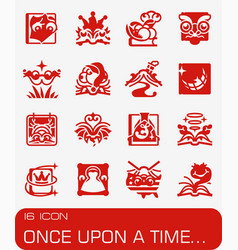 Once upon a time icon set vector