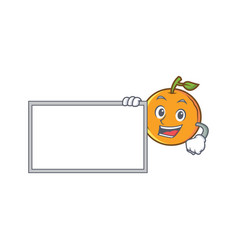 Orange fruit cartoon character with board vector