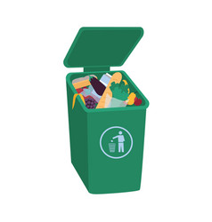 Organic waste lying in open green trash container vector