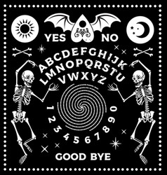 ouija board with skeletons occultism set vector image