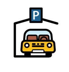 Passenger car parked in covered parking space vector