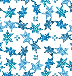 Pattern volumetric snowflakes vector