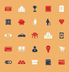Personal financial flat icons with shadow vector image