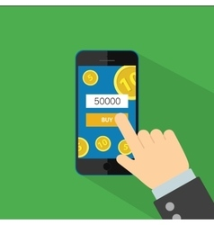 Phone in hand for buy flat vector image