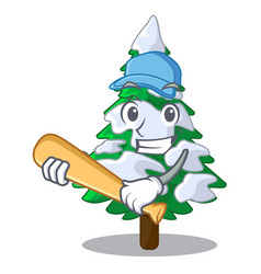 Playing baseball firs with snow of beautiful vector
