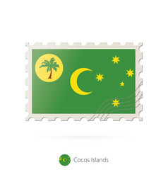 Postage stamp with image cocos islands flag vector