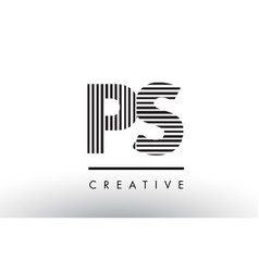 Ps p s black and white lines letter logo design vector