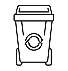 Recycling garbage bin icon outline style vector