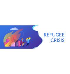 Refugees concept banner header vector