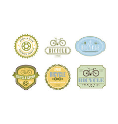 retro bicycle sport logo set badge can be used vector image