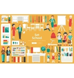School Big Collection in flat design concept vector