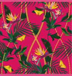 Seamless pattern with tropical jungle plants vector