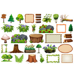 set nature element for decor vector image