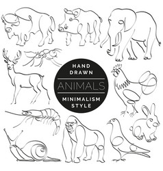 Set of animals in hand drawn minimalism style vector