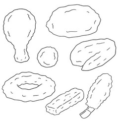 Set of fried food vector