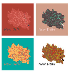 set of new delhi map flat style design vector image