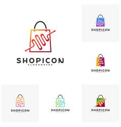 set of shop pulse logo template design vector image