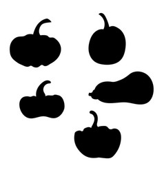 set silhouettes pumpkins collection vector image