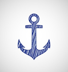 Ship anchor drawn on paper vector image