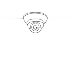 Single one line drawing cctv located vector