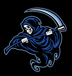 Skull grim reaper with sickle vector