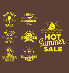 Summer sale clearance badges some shopping vector